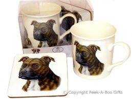 Brindle Staffordshire Bull Terrier Leonardo China Mug & Coaster Set