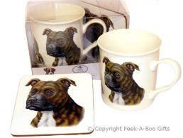 Brindle Staffordshire Bull Terrier Leonardo China Mug & Coaster Set
