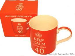 Keep Calm (& Carry On) You're 40 - 40th Birthday China Mug by Leonardo