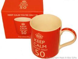 Keep Calm (& Carry On) You're 50 - 50th Birthday China Mug by Leonardo