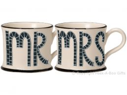 Moorland Pottery Mr & Mrs Twin Mug Wedding Day Gift Set