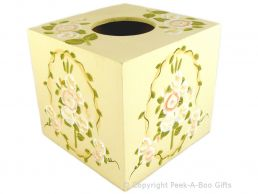 Wooden Square Tissue Box Holder & Cover with Peach Flower