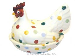 Emma Bridgewater Polka Dot Large Hen on Nest Egg Holder