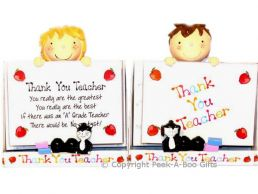 Thank You Teacher Boy or Girl Message Plaque-Photo Frame