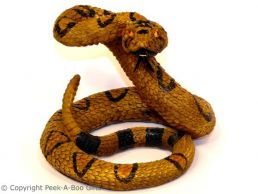 Coiled Rattle Snake Lifelike Figurine Medium Sculpture