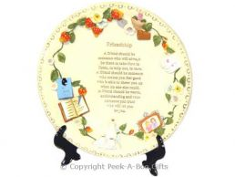 Friendship Plate with  Poem & Stand 20cm
