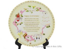 Anniversary Plate with Poem & Free Stand