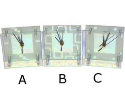 Glass Modern Mantle Clock 5'' Square with Alarm