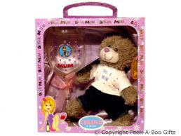 Mum Wine Glass & Soft Toy Bear Gift Set