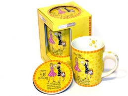 21st Birthday Mug & Coaster Gift Set Conical For Her