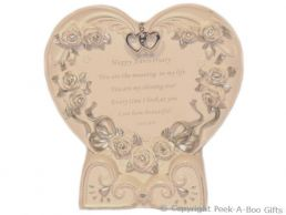 Heart Shaped Anniversary Plaque & Stand
