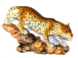 Walking Leopard on Rocks Figurine Medium Sculpture