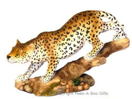 Walking Leopard on Log Figurine Medium Figurine