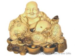 Extra Large Laying Lucky Cream & Gold Buddha Figurine