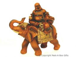 Wood Effect Happy Buddha Figurine Riding a Lucky Elephant