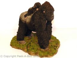 Large Walking Silverback Gorilla with Child Figurine