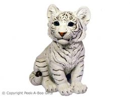 Sitting Snow-Siberian Tiger Cub Figurine by Regency