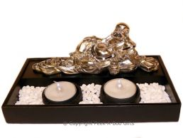 Lucky Buddha Laying Twin Tealight Candle Holder Black & Chrome