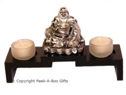 Lucky Buddha Sittiing Twin Tealight Candle Holder Ornament Black & Chrome