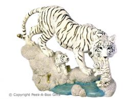 Large Snow-Siberian Tiger Figurine Family at the Frozen Riverside