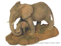 Elephant Figurine Mother Protecting Her Calf Medium Sculpture
