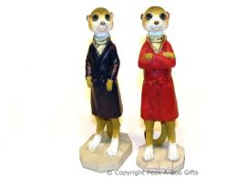Meerkat Figurine with Jacket Dressed to Impress 18cm Sculpture