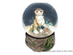 Kalahari Desert Meerkat 65mm Water Ball-Globe with Figurine