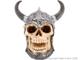 Gothic Skull in Horned Celtic Helmet Money Box/Bank