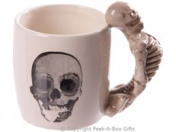 Gothic Skull Mug with 3D Skeleton Shaped Handle