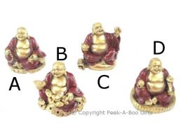 Small Lucky Buddha Figurine Red & Gold Assorted Poses Series 3
