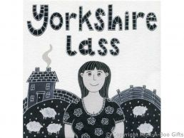Greeting-Birthday Card Moorland Pottery Yorkie Ware Yorkshire Lass - Plain Inside