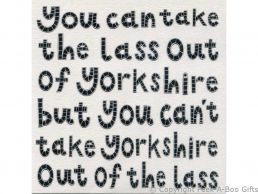 Greeting-Birthday Card Moorland Pottery Yorkie Ware Lass Out of Yorkshire - Plain Inside
