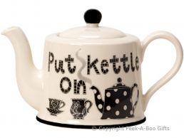 Moorland Pottery Yorkie Ware Large 4 Mug Teapot Put Kettle On