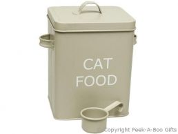Home Sweet Home Pale Olive Sage Green Tin Cat Food Box with Scoop