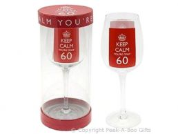 Keep Calm (& Carry On) You're 60 Large 60th Birthday Wine Gift Glass by Leonardo