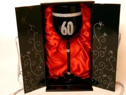 60th Birthday Hand Painted & Jewelled Black Large Wine Gift Glass