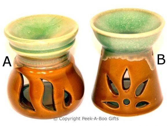 Stoneware Green & Brown Wash Fragrance Oil Burner 8.5cm