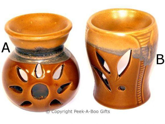 Stoneware Tan & Brown Wash Fragrance Oil Burner 8.5cm