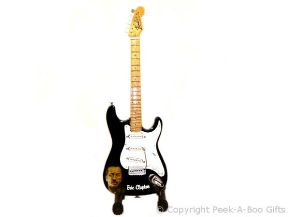 """Eric Clapton Fender Stratocaster Miniature Guitar 10"""" by Baby Axe"""