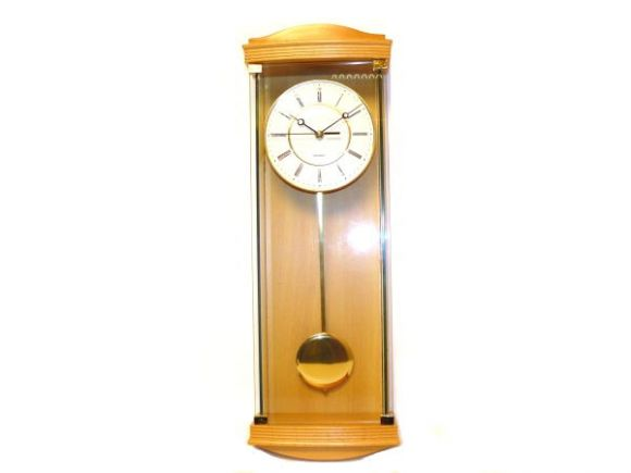 Pendulum Wall Clock with Light Oak & Glass Case