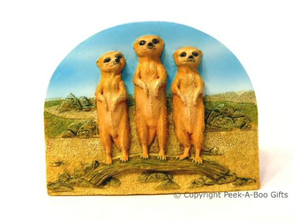 3 Kalahari Meerkats with Branch 3D Fridge Magnet by Leonardo