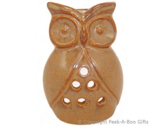 Ceramic Owl Shaped Fragrance Oil Burner Speckled Fawn Stoneware