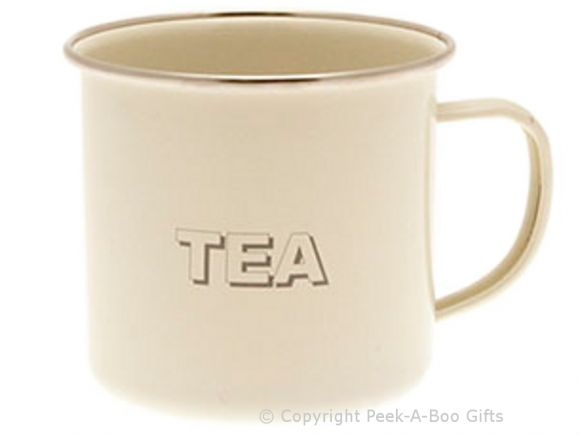 Home Sweet Home Cream Collection Tin Tea Enamel Mug