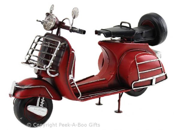 Nostalgic Tin Scooter Lambretta 1960's Style Metal Model in Red by Leonardo
