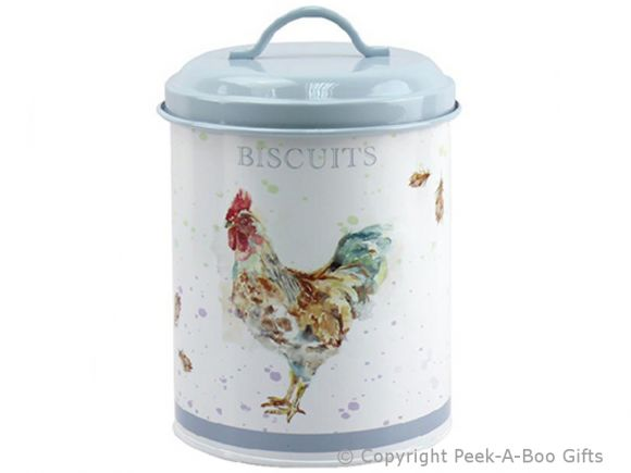 Leonardo Country Cockerel Tin Biscuits Canister by Jennifer Rose