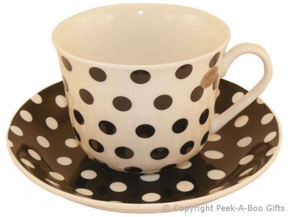 Leonardo Black & White Cascade Collection China Jumbo Cup & Saucer