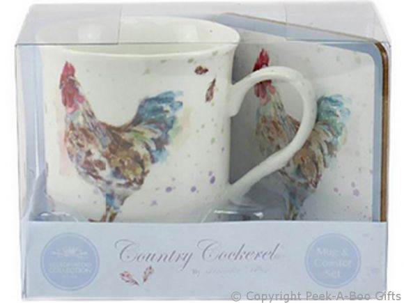Leonardo Country Cockerel Fine China Mug & Coaster by Jennifer Rose