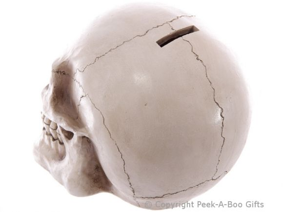 Life Size Realistic Gothic Skull Money Bank/Box