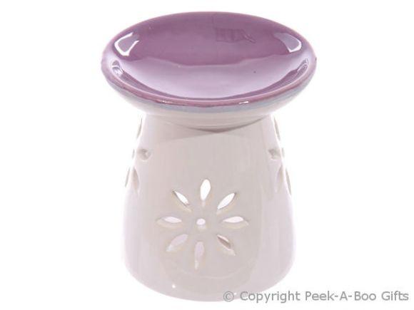 Ceramic Round Fragrance Oil Burner Purple Top Floral Cut Out Base