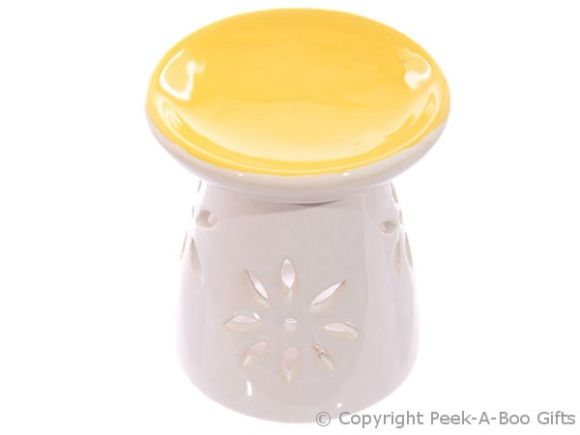 Ceramic Round Fragrance Oil Burner Yellow Top Floral Cut Out Base